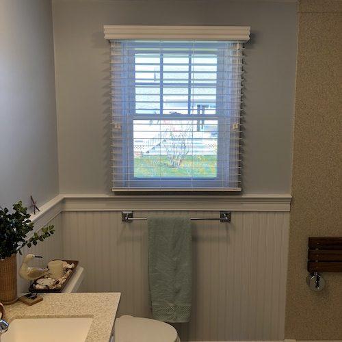 Hunter Douglas wood blinds bathroom